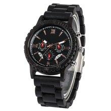 лучшая цена Black Ebony Strap Wooden Watch in Quartz Watches Large Dial with Calendar Clock Wood Case Wristwatch relogios masculinos