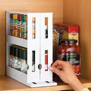 2-layer Multi-Function Rotatable Push-pull Rack Food Storage Box Seasoning Rack Shelf Rangement Cuisine Kitchen Storage Cocina