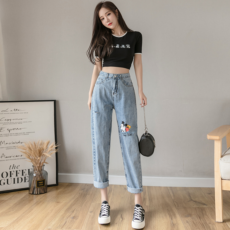 Sky Blue Women's Jeans Summer Thin Section Daddy Jeans Mouse Boyfriends  High Waist Straight Breathable Cropped Pants
