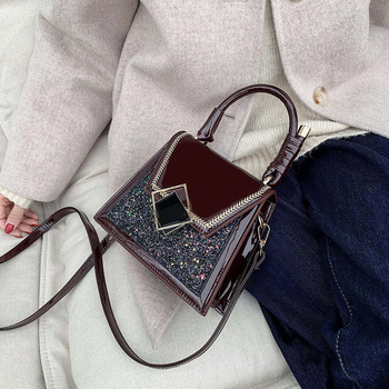 2020 Fashion Patent leather Handbags Women Crossbody Bags Vintage Shoulder Messenger Bag Ladies Clutch Casual Totes Female Purse vintage crocodile composite handbags women shoulder crossbody bags 2020 fashion totes ladies messenger bag female purses