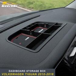 GELINSI dla VW Volkswagen Tiguan 2010 2011 2012 2013 2014 2015 2016 deska rozdzielcza samochodu schowek wykończenia wnętrza akcesoria|Sprzątanie i organizacja|   -