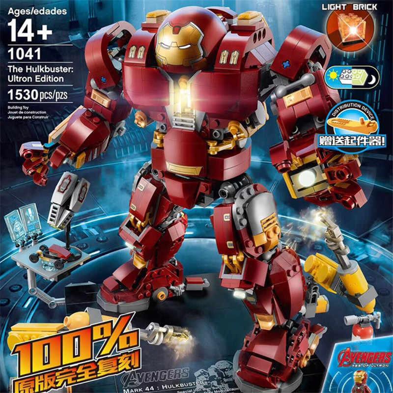 1530PCS The Marvel Avengers Super Heros Series Iron Man Anti Hulk Mech Legoinglys 76105 Model Building Blocks Toy Kids Bricks