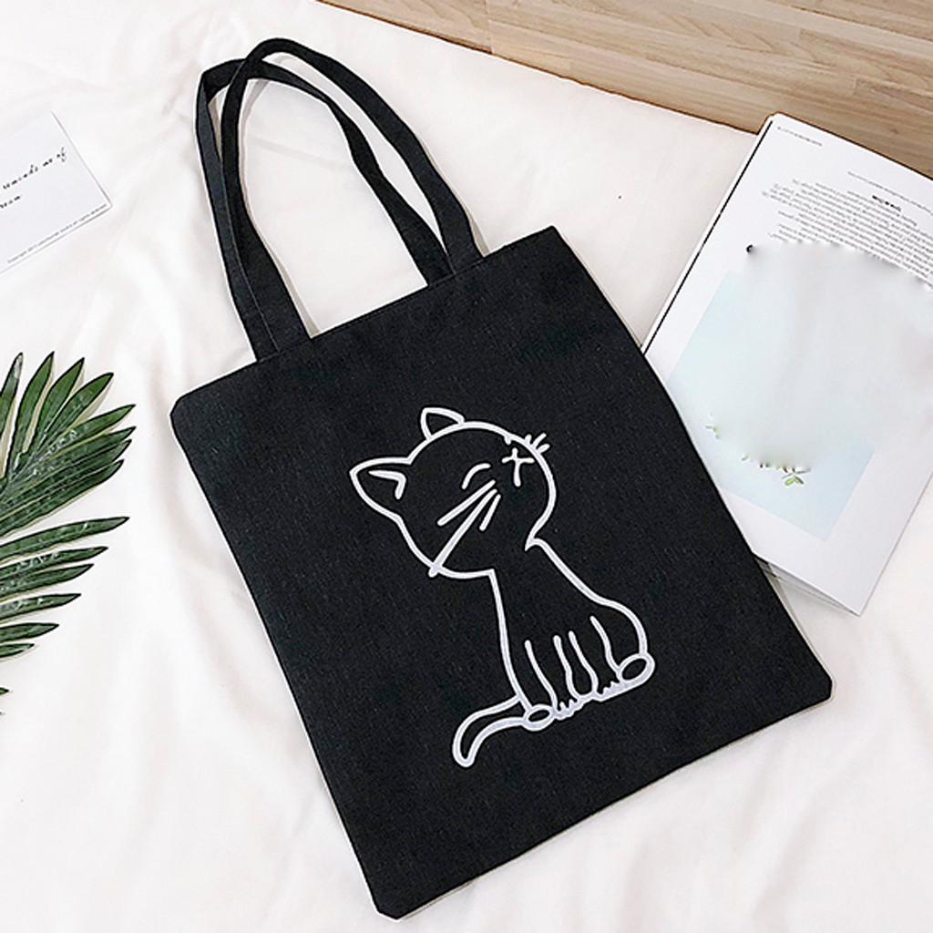 Female Canvas Shopping Bag Cartoon Shoulder Grocery Bag Student Out Large Capacity Folding Reusable Shopper Bags Bolsa #40