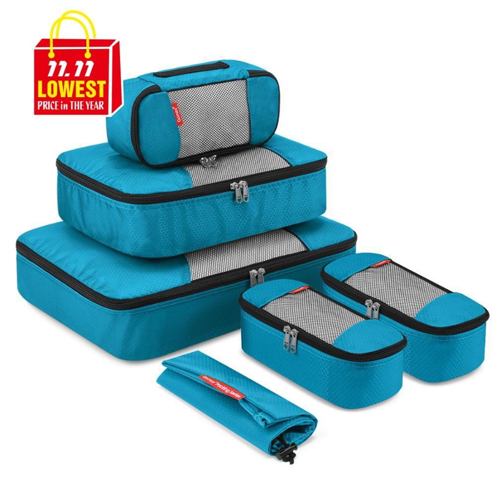 Compression Packing Cubes Set Mesh Bag Travel Suitcase Luggage Organizer Pouch