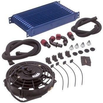 """AN10 uniwersalny 13 rzędowy silnika Trust Oil Cooler + 7 """"wentylator elektryczny zestaw niebieski"""