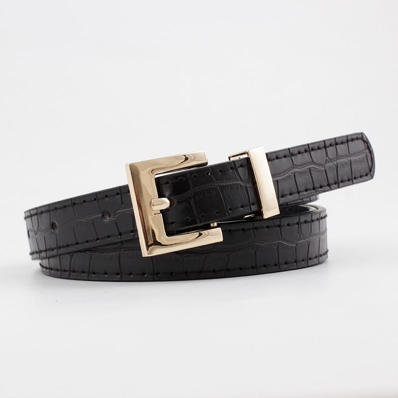 2020 New Designer Women's Red Black Brown White Narrow Thin Faux Crocodile Leather Belt Female Gold Buckle Belts for Women Dress