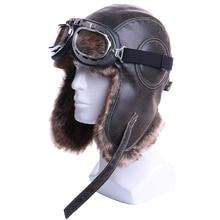 Chapéus de bomber de pelúcia ushanka, chapéu de piloto de pelúcia com óculos de proteção para homens e mulheres, armadilha de couro falso para neve tampas