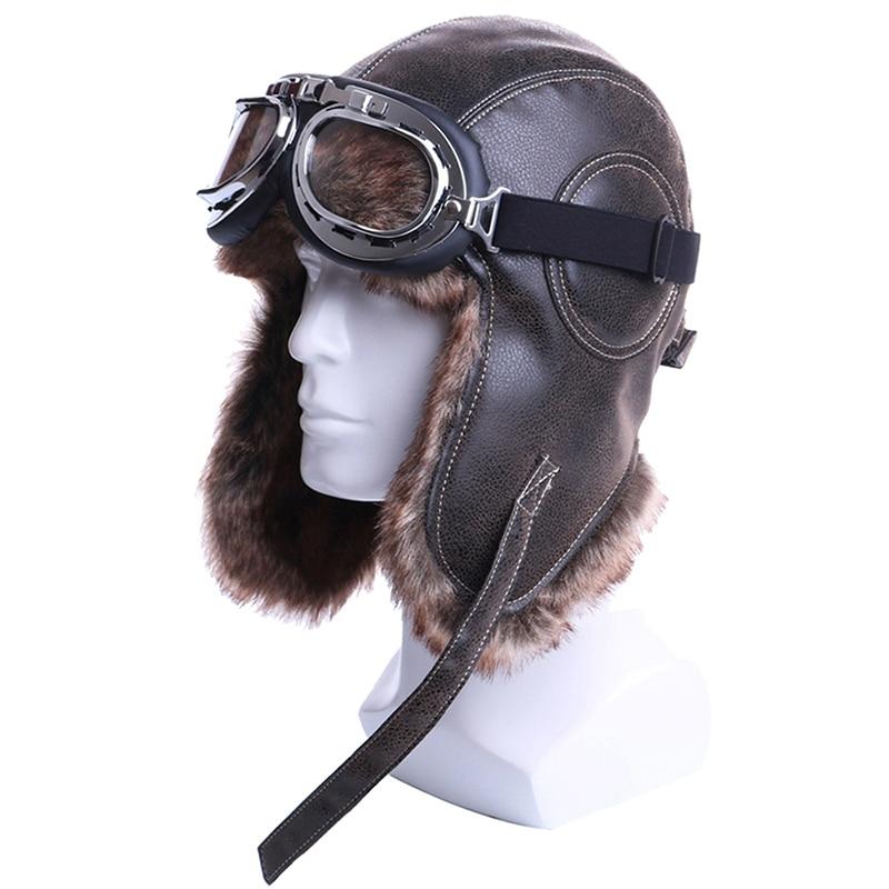 Winter Bomber Hats Plush Earflap Russian Ushanka With Goggles Men Women's Trapper Aviator Pilot Hat Faux Leather Fur Snow Caps