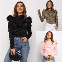 2019 Blusas de satén de moda para mujer, Blusas de manga larga, blusa elegante para oficina, para mujer Camisas, Blusas S-XL, Camisa delgada mujer