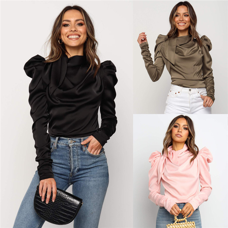 2020 Fashion Women Satin Blouses Bow Neck Long Sleeve Elegant Blouse Office Lady Shirts Female Blusas S-XL Slim Top Camisa Mujer