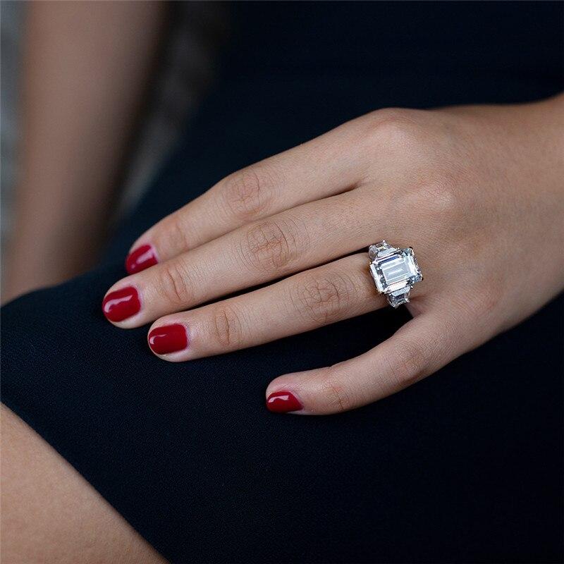 Choucong bijoux fins 100% vrais 925 bagues en argent Sterling pour femmes Emerld cut 6ct Sona Diamon cz bague de fiançailles de mariage - 5