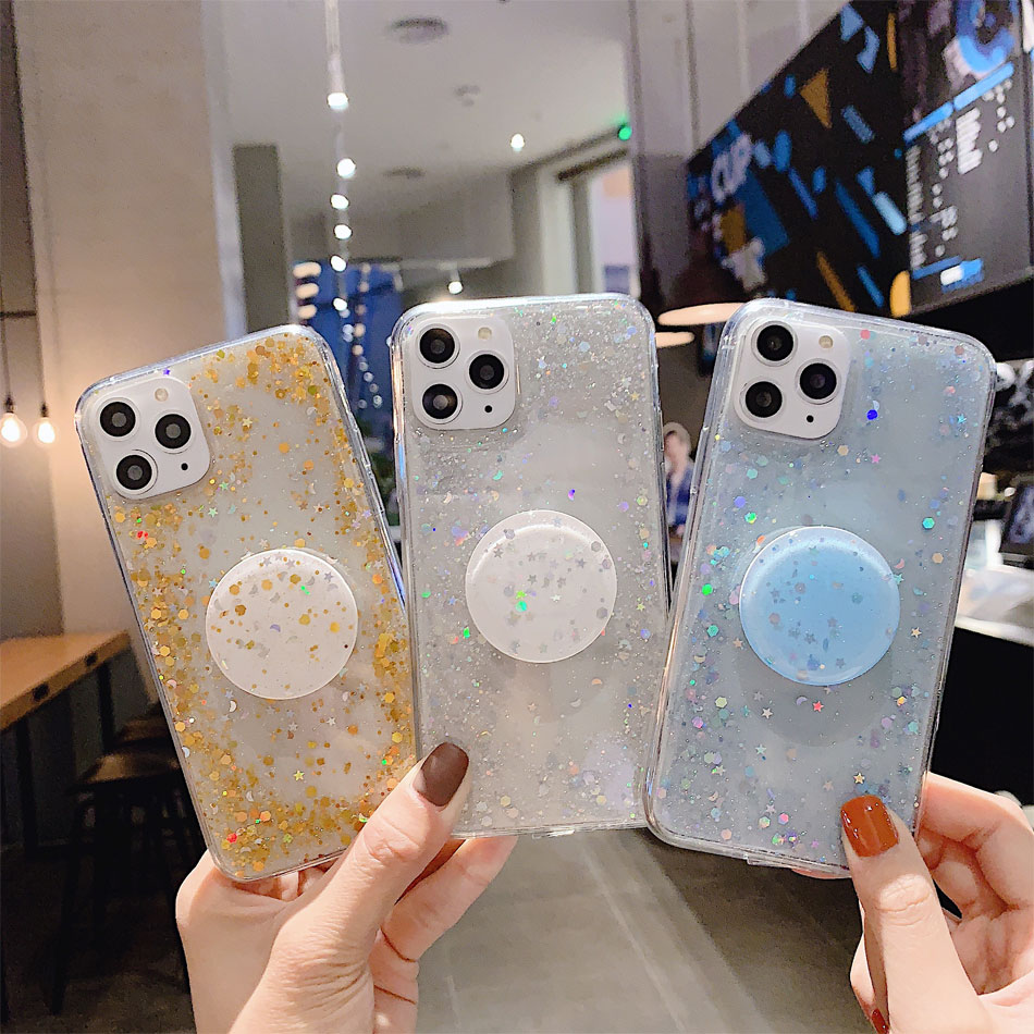 H901afbc2affb4d62bc369d0a3d8eb0824 - Bling Glitter Phone Case For iphone 11 Case 11 pro max 6 6s 7 8 Plus X XR XS Max Star Sequin Cover Funda Stand Holder Coque