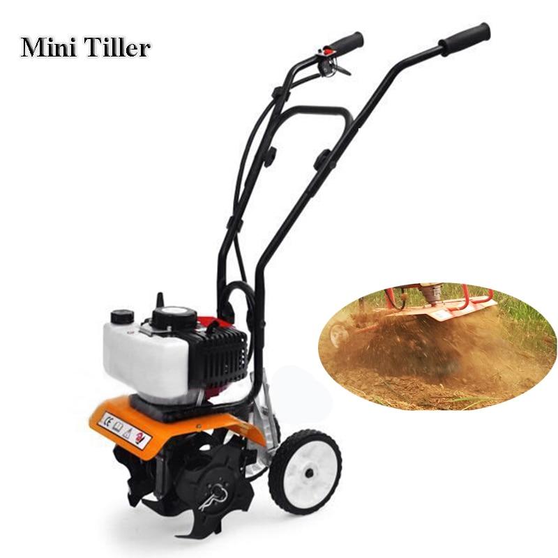Mini Tiller Garden Cultivator 52cc 1900W Stroke Gasoline Engine Walking Rotary Tractor Rotary Soil Loosening Equipment 1E44F-5