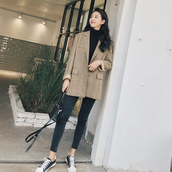Photo Shoot 2019 Spring New Style Korean-style WOMEN'S Wear Pattern Casual Coat-Style Retro British Style Plaid Small Suit