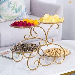 Żelazne talerze owocowe kreatywny dom salon stolik owocowy talerz wielowarstwowy przekąska deser stojak na owoce miska mx9181530