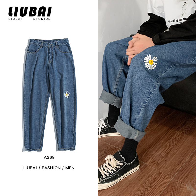 Spring New Straight Jeans Men's Fashion Flower Print Casual Jean Pants Men Streetwear Wild Loose Hip Hop Denim Trousers Mens