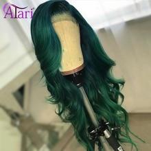 Парик для фронтальных волос на сетке зеленого фиолетового цвета с детскими волосами, прозрачные 100% натуральные человеческие волосы, перуан...