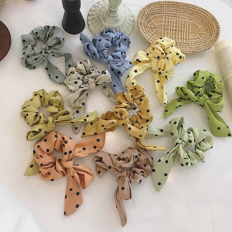 Kobiety słodka rozkloszowana spódnica drukuj serpentyny Scrunchie elastyczna kokarda ślubna gumka do włosów opaski dla dziewczynek kucyk Holder akcesoria do włosów