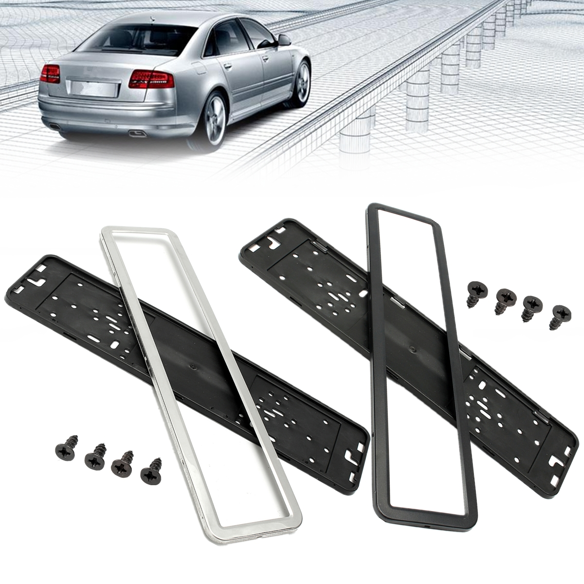 1 Set Edelstahl Europäischen Deutsch Russische 8K Auto Kennzeichen Rahmen kennzeichen Halter