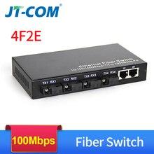 Conmutador de fibra óptica de 100Mbps, convertidor de medios ópticos de 20km, 4 puertos de fibra y 2 puertos RJ45 UTP, 4F2GE, conmutador Ethernet de fibra