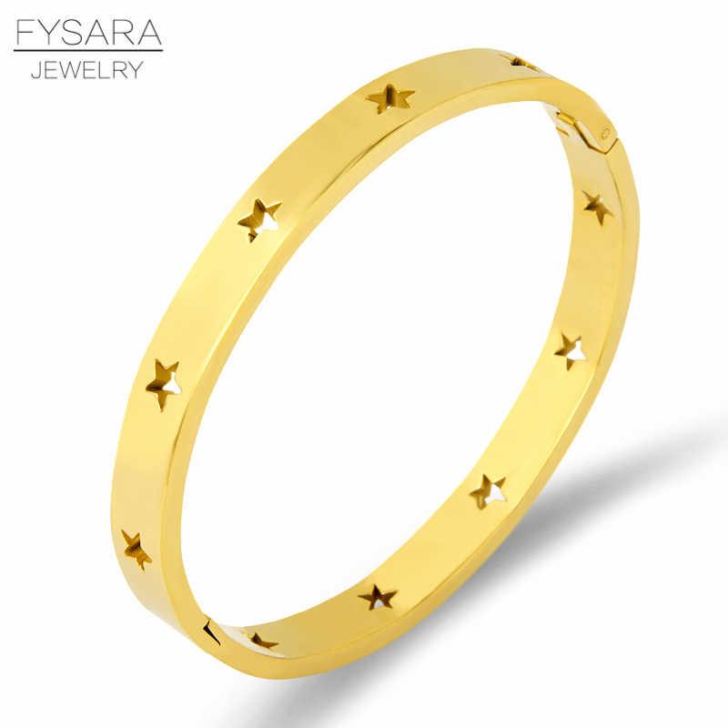 FYSARA moda brazaletes con estrella hueca y pulseras para mujeres joyería de moda de acero inoxidable oro rosa pulseras de plata europea