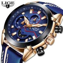 цена Relogio Masculino LIGE New Mens Watches Top Luxury Quartz Watch Blue Casual Leather Military Watch Men Waterproof Sports Clock онлайн в 2017 году