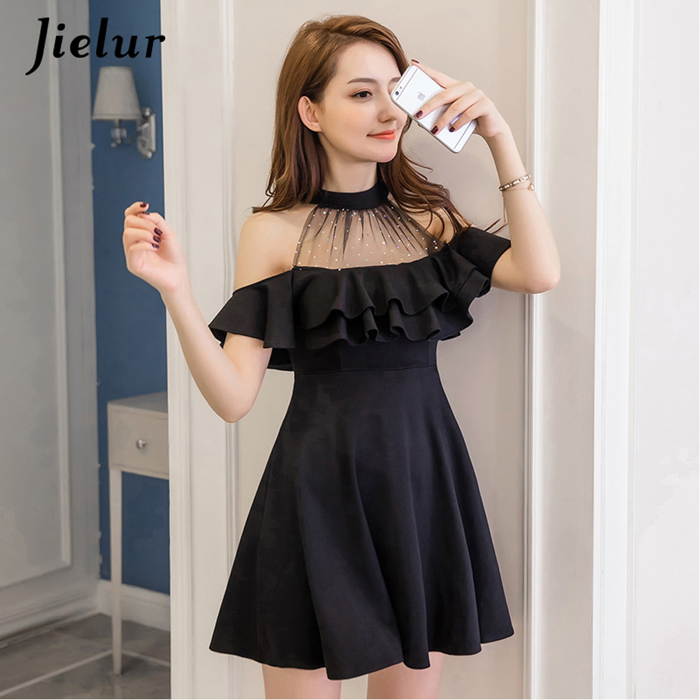 Jielur Elegant Lace Off Shoulder Dress Autumn Korean Hipster Black White Sexy Party Slim Ruffles A Line Dress Vestido Dropship
