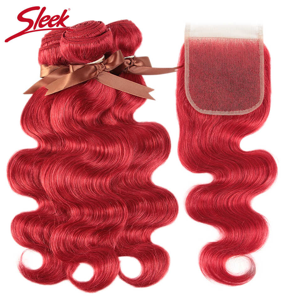 Sleek Red Color Body Wave Bundles With Closure Brazilian Hair Bundles With Closure 8-28 Remy Human Hair 3/4 Bundles With Closure