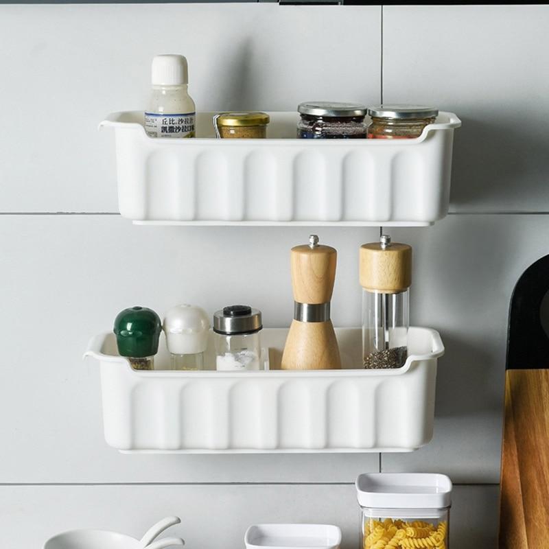 2pcs Multifunctional Hanging Kitchen Drawer Storage Basket Wall-mounted Cabinet Push-pull Shelf Rack for Seasoning