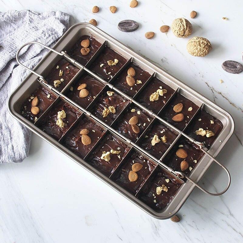 Image 2 - Профессиональная форма для выпечки шоколадного торта 18 полость квадратная решетка из углеродистой стали инструменты для выпечки Легкая очистка сковорода для выпечки коричневого пирога    -