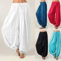 8 цветов танец гарем Штаны Для женщин штаны с эластичной резинкой на талии свободные Повседневное хлопковые Мягкие штаны Большие размеры ...