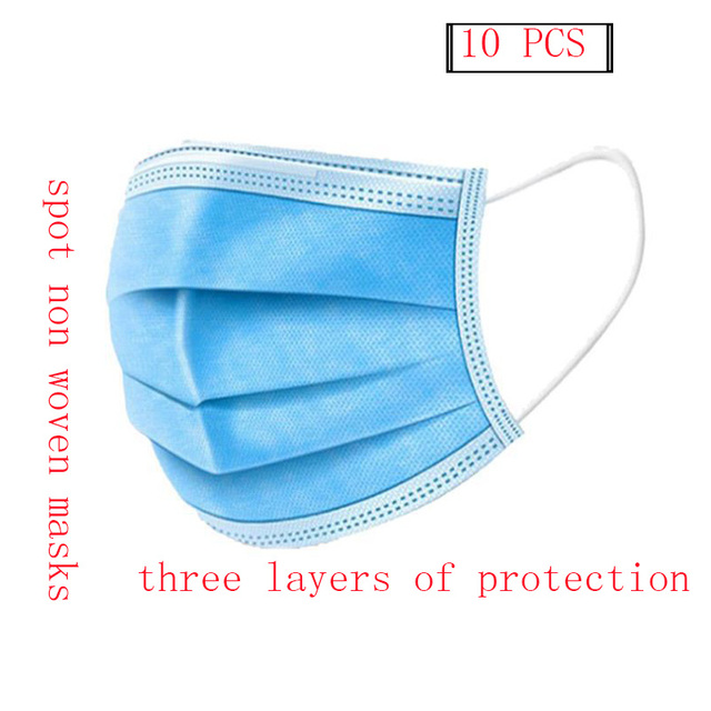 10 PCS/bag 3-layer non-woven dust mask thickened disposable mask for civilian use