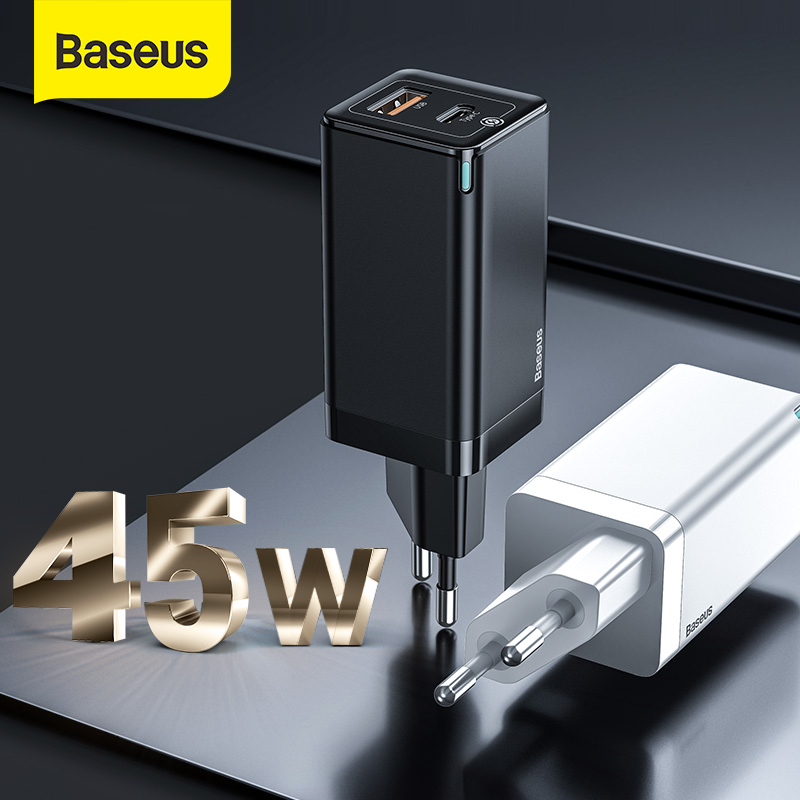 Baseus GaN 45W PD USB Charger Quick Charge 4.0 3.0 USB C Fast Wall Charger For Xiaomi iPhone Samsung Mobile Phone Type C Charger image