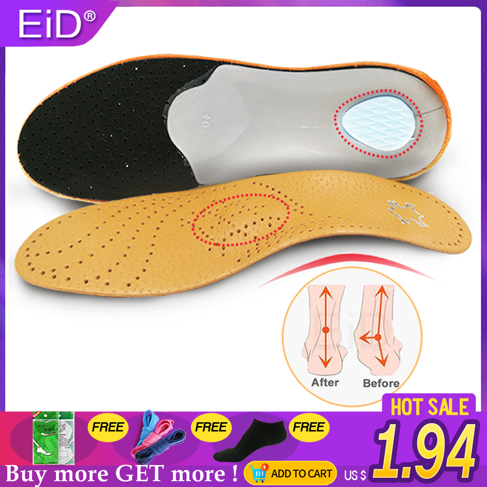 EiD Leather Orthopedic Shoes Sole Insoles Orthotic Insole For Flat Feet Arch Support  For Feet Men And Women OX Leg Shoes Pads