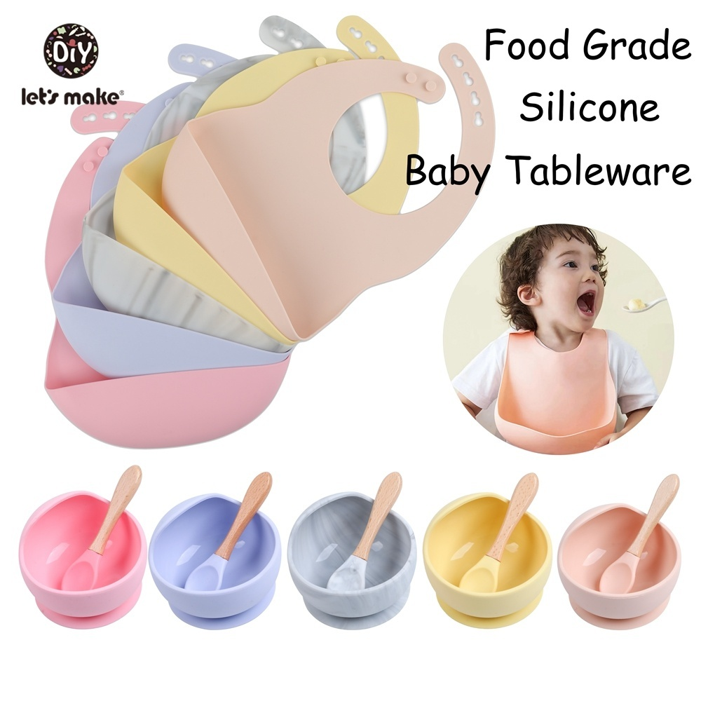 Baby Feeding Dishes Tableware Spoon Food Dinnerware Children's Dishes Dining Plate Soft Suction Fixing BPA Free Silicone Bowl
