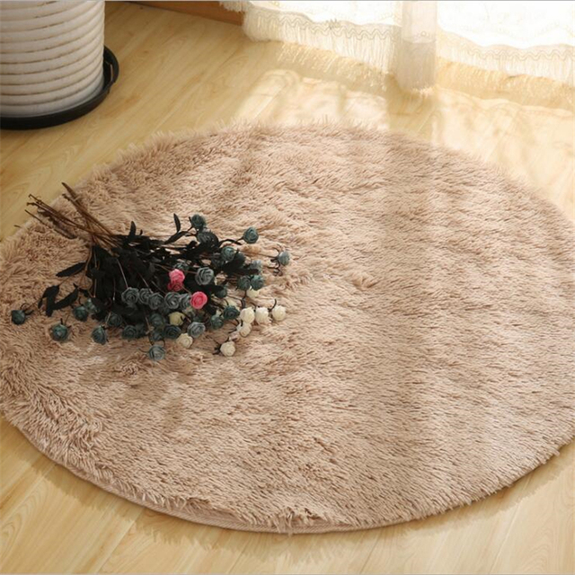 Фото fluffy round rug carpets for living room decor faux fur rugs цена