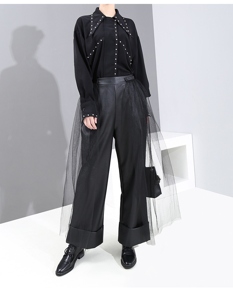 New Fashion style High Elastic Waist Black Mesh Pu Leather Wide Leg Trousers Fashion Nova Clothing