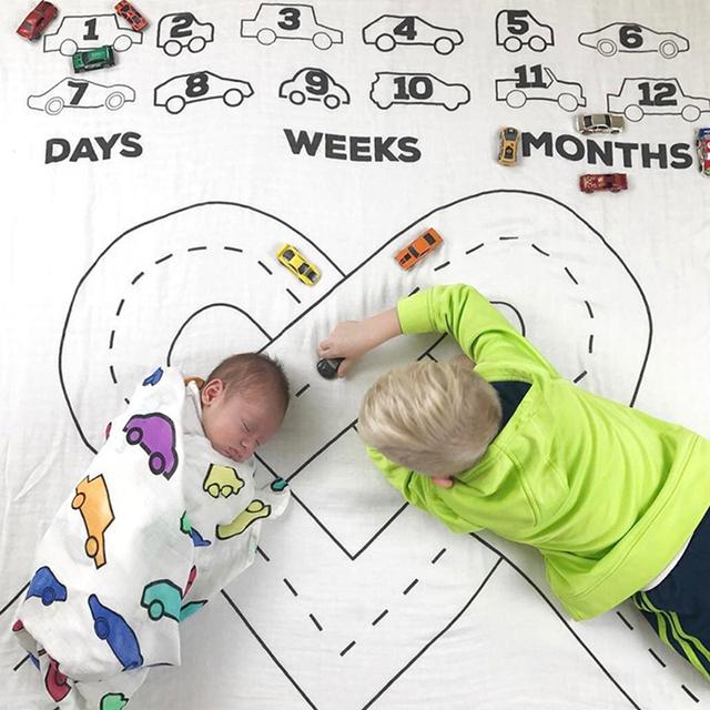 Nadruk kreskówkowy dziecko śliczny samochód i dom koc tło do zdjęć z tkanimy maluch niemowlę dla dzieci aparat fotograficzny rekwizyty fotograficzne tanie tanio 100 poliester 13-18 miesięcy Cartoon Ręcznik kąpielowy Plac SD461574 as picture 95*95cm 100g polyester