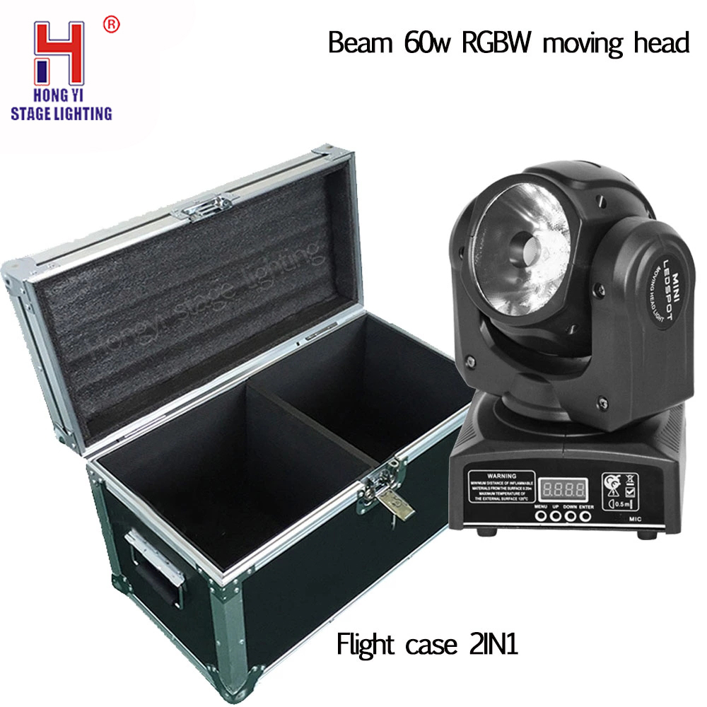 Flight case with 2in1 moving head 60w beam light dmx control for stage dj