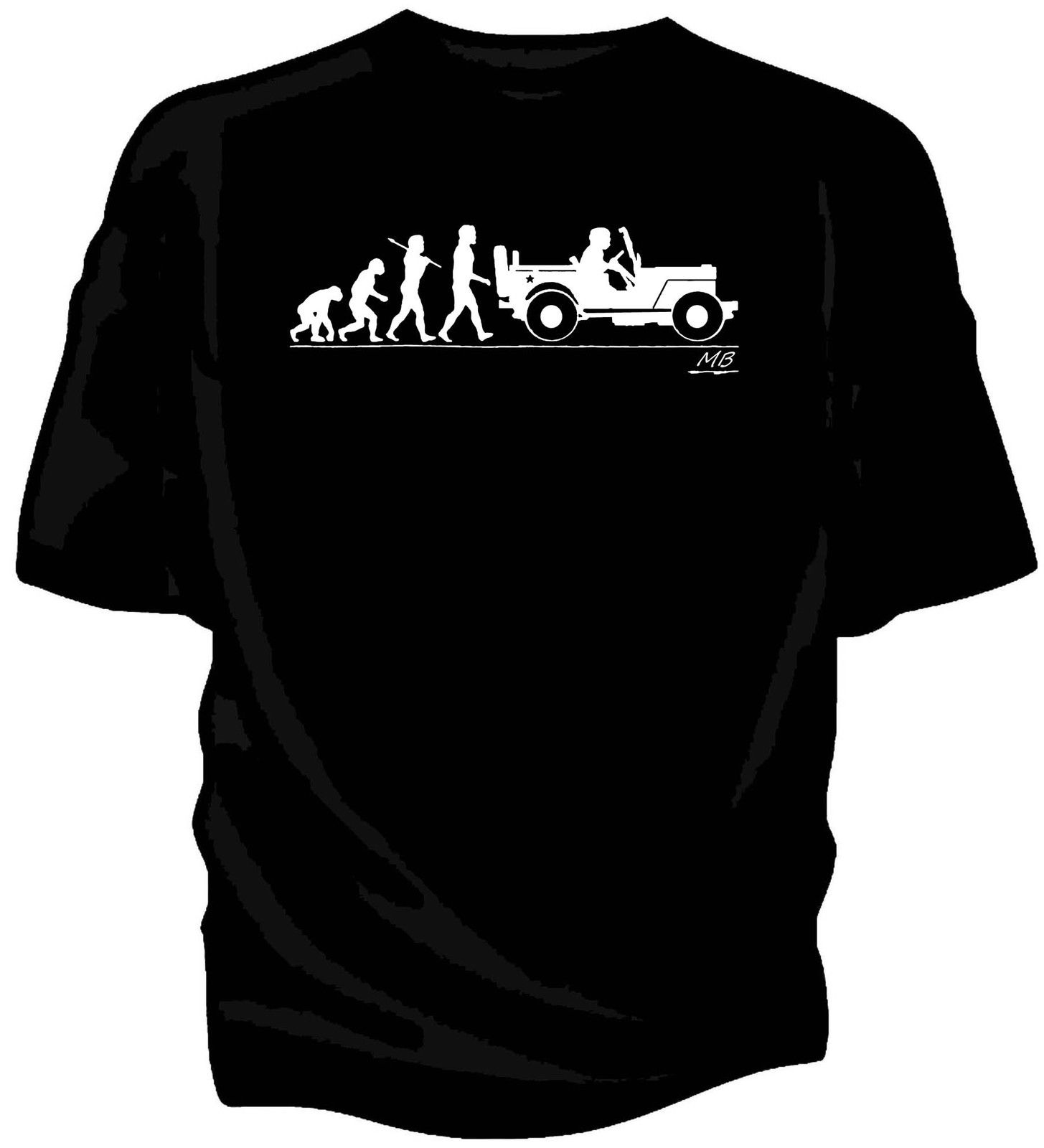 Evolution of Man Willys MB Jeep t-shirt