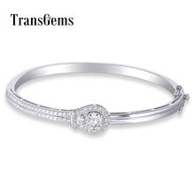 TransGems Sterling Solid 925 Silver 1ct 6.5MM F Color Moissanite stone Bangle Bracelet Moissanite Jewelry for Women Gifts