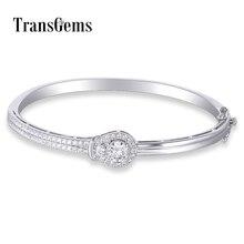Transgemmes Sterling solide 925 argent 1ct 6.5MM F couleur Moissanite pierre Bracelet Bracelet Moissanite bijoux pour femmes cadeaux
