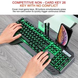 Image 5 - Gaming Keyboard Wired Ergonomic Keyboard With RGB Backlight Phone Holder Gamer Keyboard For Tablet Desktop For PUBG