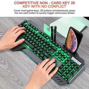 Image 5 - لوحة مفاتيح الألعاب السلكية مريح لوحة المفاتيح مع RGB الخلفية حامل هاتف الألعاب لوحة المفاتيح لسطح المكتب اللوحي ل PUBG