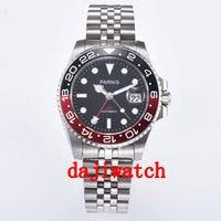 Reloj de cristal de zafiro mecánico automático de 40mm de lujo con esfera negra y bisel negro/rojo para hombre