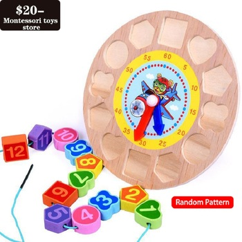 Wooden Children's Early Learning Puzzle Color Shape Cognitive Matching Cartoon Animal Number Stringing Beaded Clock Toy simingyou wooden toys puzzle color toy for color exerciseand shape identification exercise drop shipping