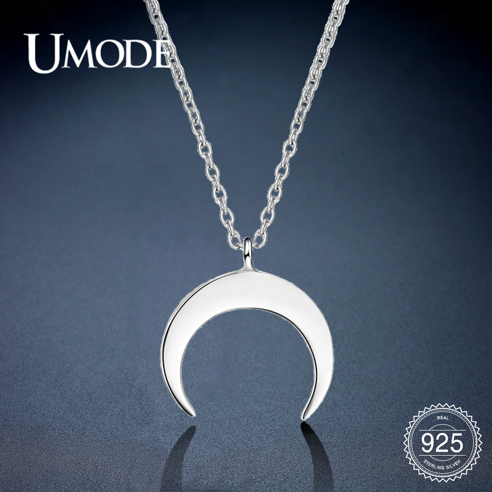 UMODE Fashion Moon 925 Sterling Silver Necklaces & Pendants Gifts For Women Chains Cute Romantic Silver 925 Jewelry ULN0395