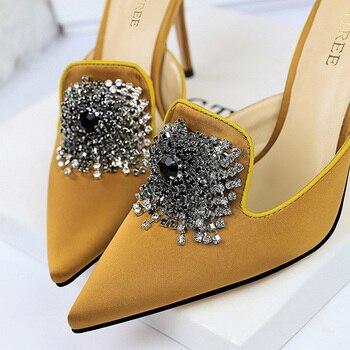 Luxury 10.5cm Crystal Silk Satin Closed Toe Slip On Heels 6