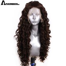 Anogol Hohe Temperatur Faser Natürliche Haar Perücken Glueless 6 # Mixed 8 # Lange Verworrene Lockige Synthetische Spitze Vorne Perücke mit Freies Teil