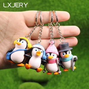 LXJERY 4 Styles Penguin Keychain Lovely Key Chain Schoolbag Backpack Charm Pendant Key Ring llaveros Girl Gifts Jewelry